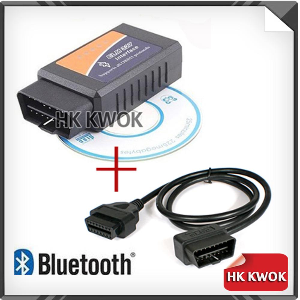 2014 низкая цена для ELM327 V1.5 Bluetooth OBD 2 / OBDII сканер 1 м правой ангел соединительный кабель диагностический инструмент бесплатная доставка