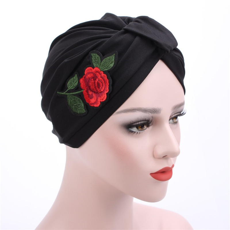 Women's Soft Elastic Rose Pleated Twisted Muslim Turban Chemo Beanie Indian Cap Nightcap