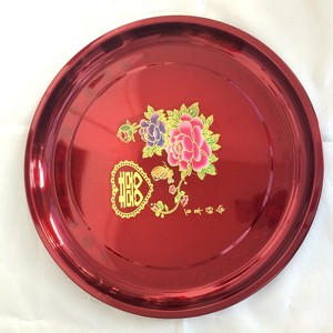 Chinese New Year Wedding Decorating Candy Dry Fruits Plates Red Stainless Steel Dishes & Plates