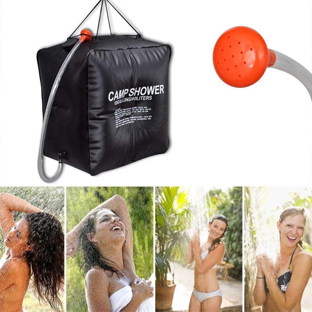 Outdoor & Sports,Dartphew 1Pcs Water Bathing Bag - 40L Portable Solar Heated Shower for Outdoor Camping Hiking,Long handle Solar heating(Cool Black,Size:40x40x27cm)