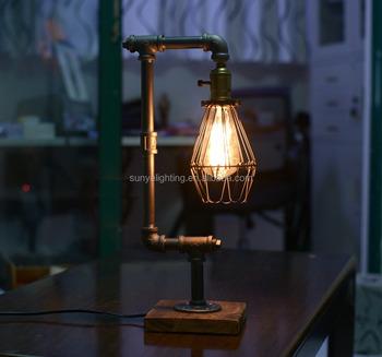 Chevet D'éclairage Steampunk Cage Buy Designer Tuyauterie Fer De intérieur Loft À Rétro Oiseaux Edison Design D'eau Table Lampes Bureau Lampe VMzUqSp