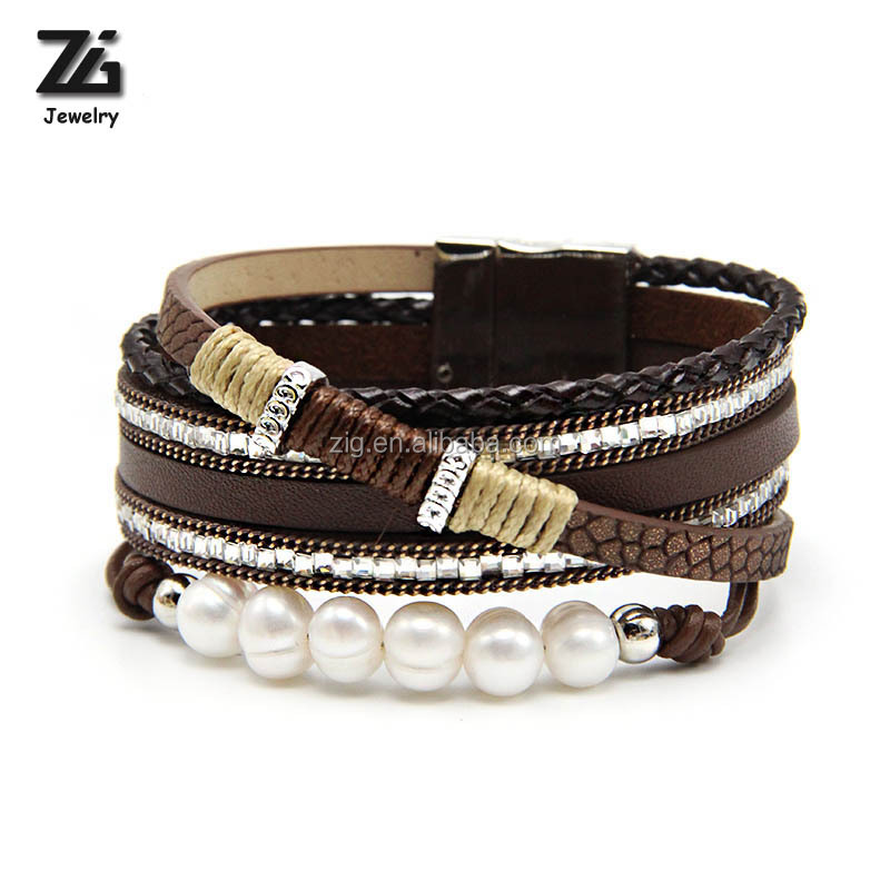 Bohemian PU Leather Pearl Women Bracelet фото