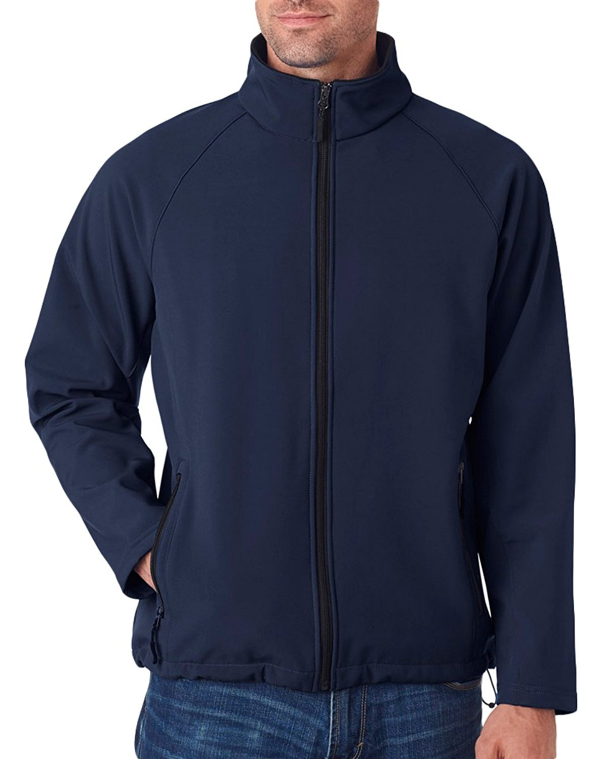 UltraClub Men's Wind Resistant Soft Shell Zipper Jacket, Medium, Navy