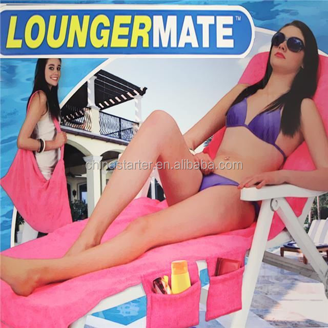 LOUNGER MATE BEACH TOWEL SUN LOUNGER MATE WITH POCKETS BAG LARGE TOWELS MAT NEW