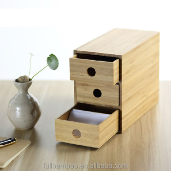 Merveilleux Desk Bamboo Small 3 Tier Storage Drawer