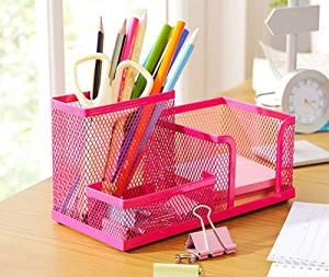 Rose Red Metal Mesh Desk Organizer Desktop Pencil Holder Accessories Box
