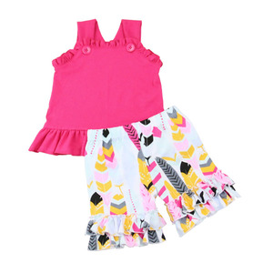 Factory price high quality summer boutique sleeveless tops and printing shorts baby girl outfit