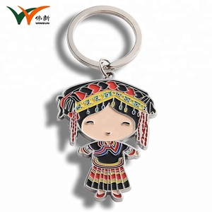 Custom cute hmong girl cartoon metal keychain