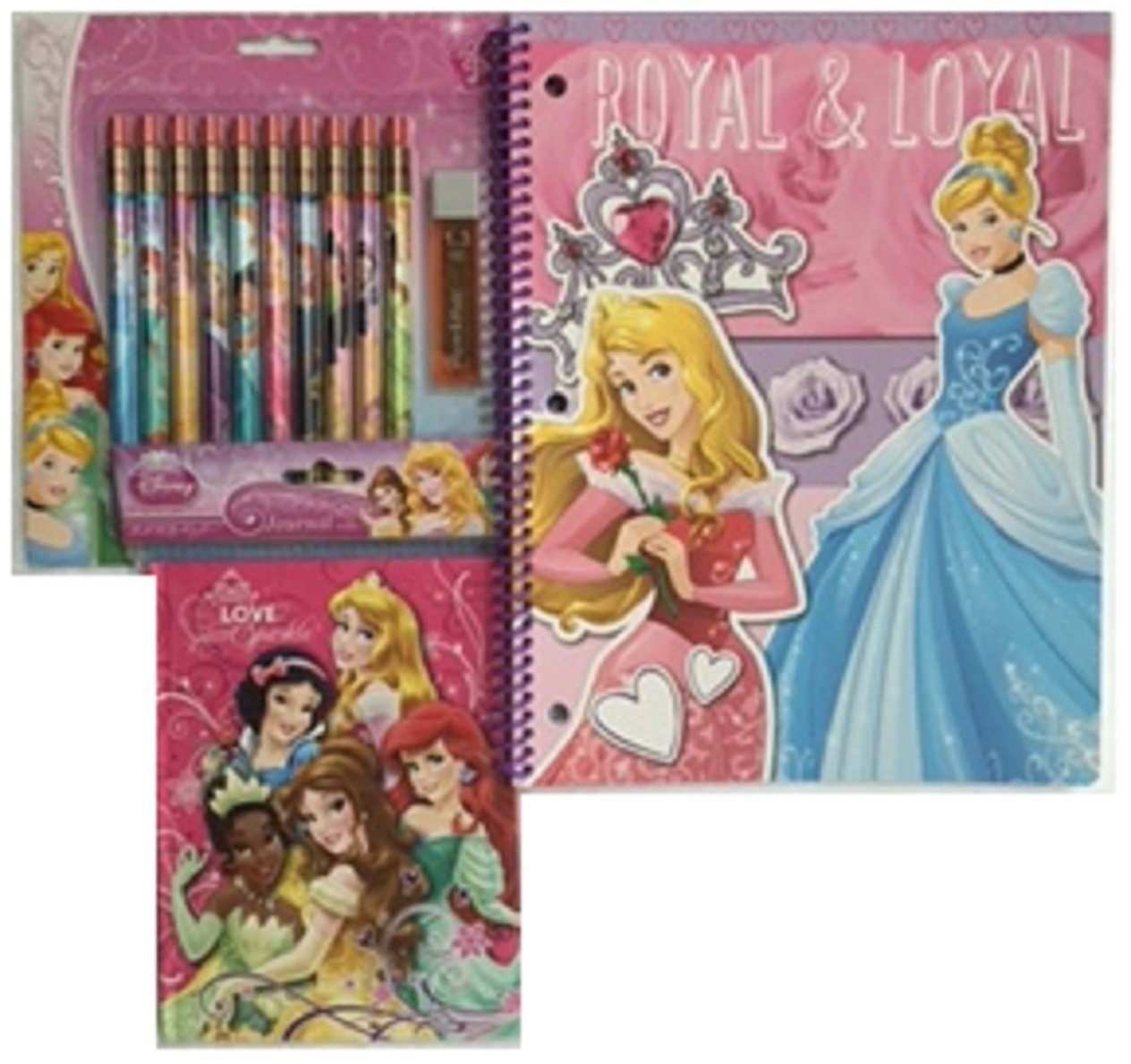 Disney Princess Mechanical Pencils, Royal & Loyal Notebook, Journal-Bundle 3 Items
