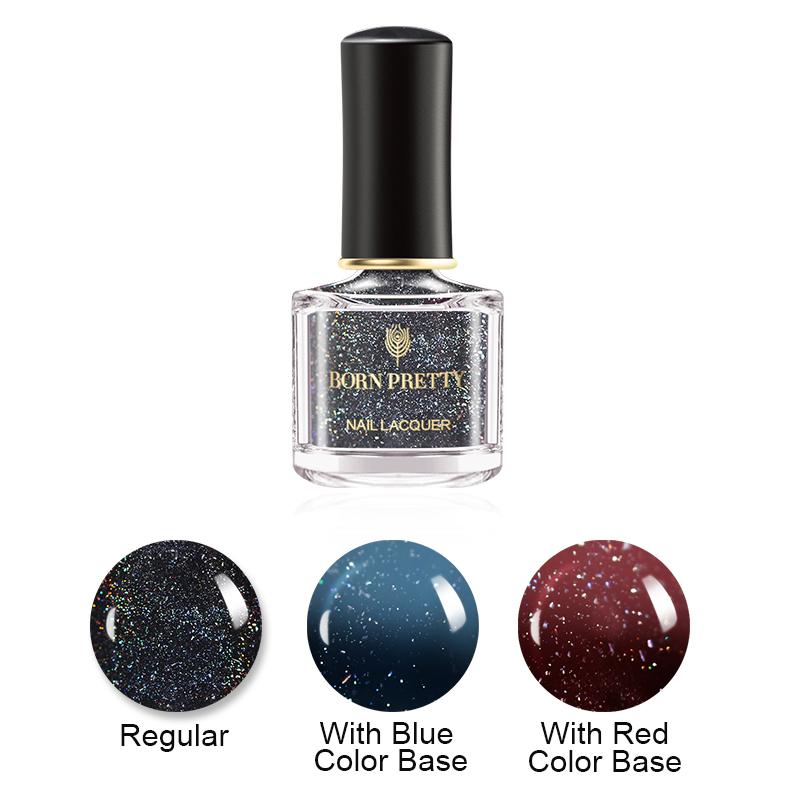 BORN PRETTY 10ml Holographic Thermal Color Changing Top Coat Nail Varnish Nail Primer-coat Color Changing Nail Art Polish фото