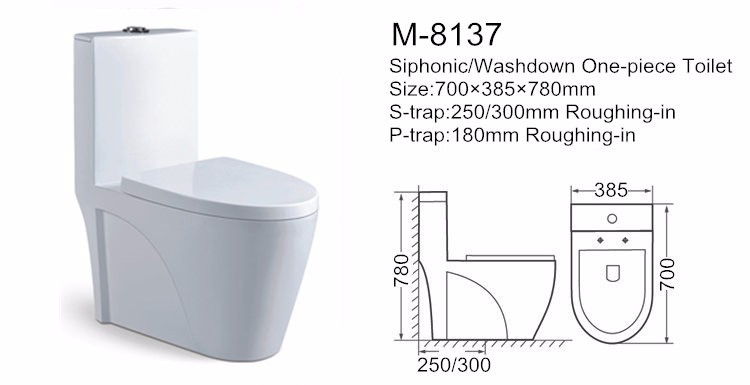 Washdown one-piece european water closet size