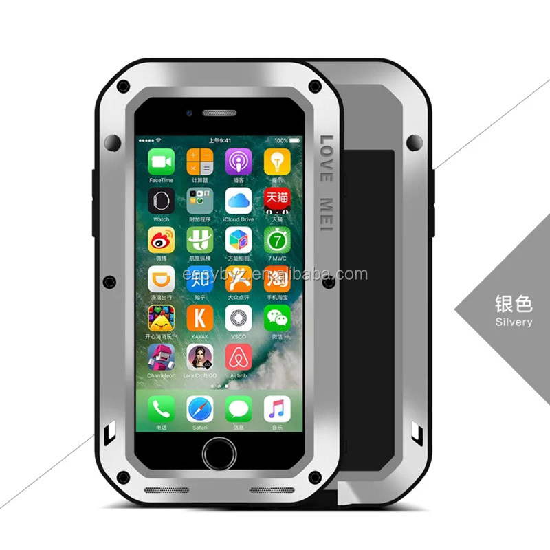 New Arrival Love Mei Powerful Shockproof waterproof Metal case cover for Apple iphone 7 Plus