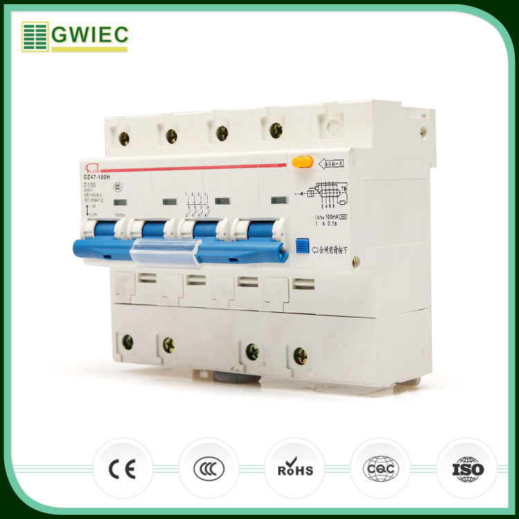 GWIEC China Cheap Products DZ47LE Rcbo 4P Electric Leakage Portable Residual Protection Current Device