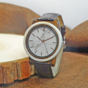 Latest stone and wood case watch your brand wooden watches with marble face dial