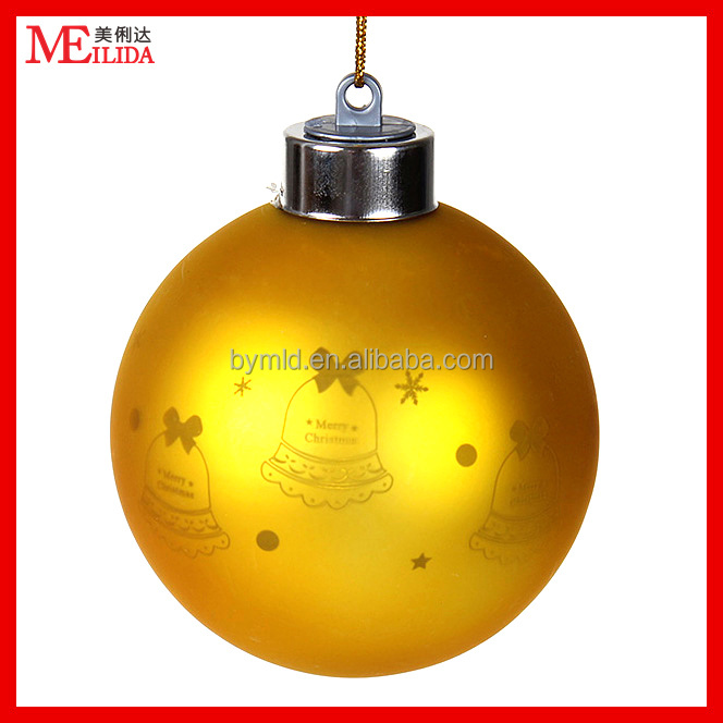LED yellow engrave lights christmas glass ball with customized pattern