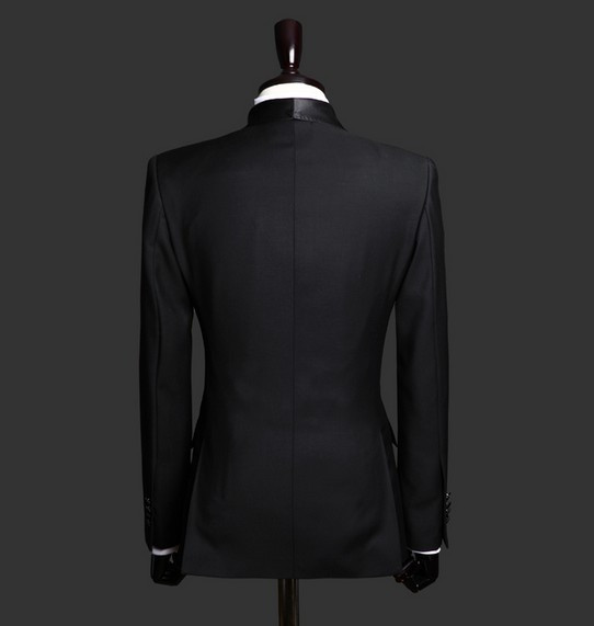 Double Breasted Two Buttons Satin Lapel Customized Groom Black ...