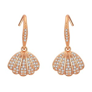 Women Shell Earring Pearl Fish Hook Zircon Cuff Metal Earrings For Girls
