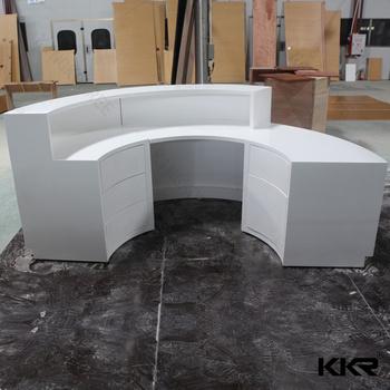 Kkr Latest Design Artificial Stone Semi Circle Reception Desk