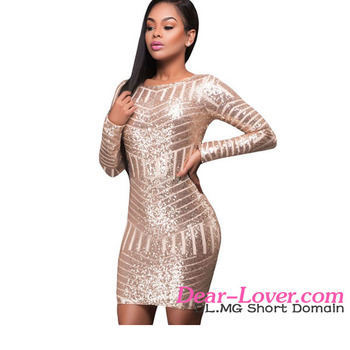 27225c25dc8 2017 Hot Girls Night Party Wear One Piece Sexy Long Sleeve Sequin Dress