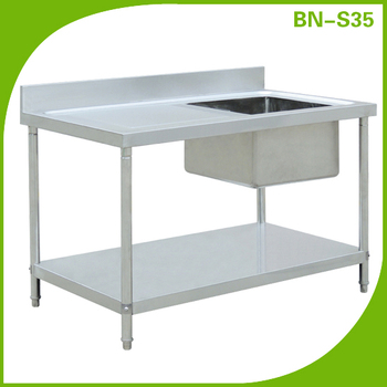Free Standing Single Bowl Sink TableKitchen Stainless Steel Sink - Standing table for restaurant