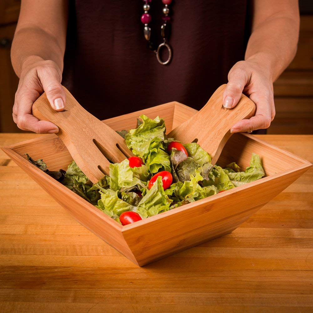 Bamboo Salad Bowl Set with Serving Hands for wholesale and high quality large wooden salad bowl