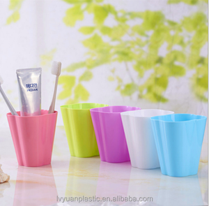 Hot sale PP Plastic Gargle Wash Tooth Brushing Cup For Bathroom like flower
