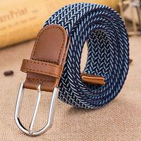 Fashion Men Women Unisex Elastic Stretch Woven Canvas Pin Belt