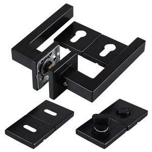 201 stainless steel black finish color square tube lever door handles lock set with cylinder/key/WC square escutcheon