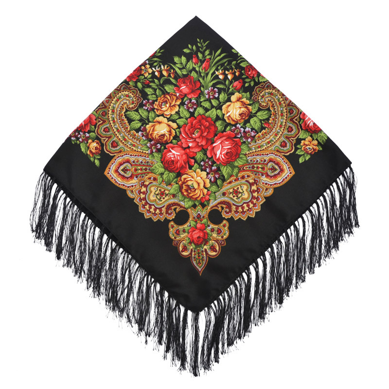 Hot Selling Big Size Designer Flower  Printed Pashmina Square Scarf Russia