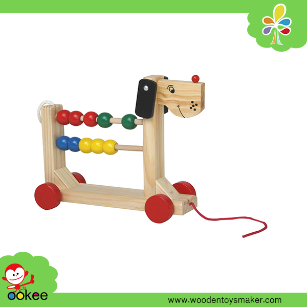 Wooden Dog Customized Pine Wood 4 Layers Soroban Abacus Pull Push Kids Game Educational New Toys for Kid 2016