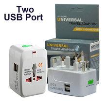 Us Eu Uk Plug Adapter International Outlet Socket Universal Travel Adapter Met 2 <span class=keywords><strong>Usb-poorten</strong></span>
