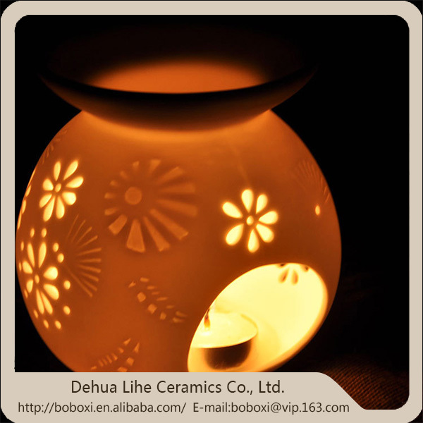 Daily Decorative fragrance lamp,Table Lamp with Flower Shaped Hollow Out Ceramic Incense Burner