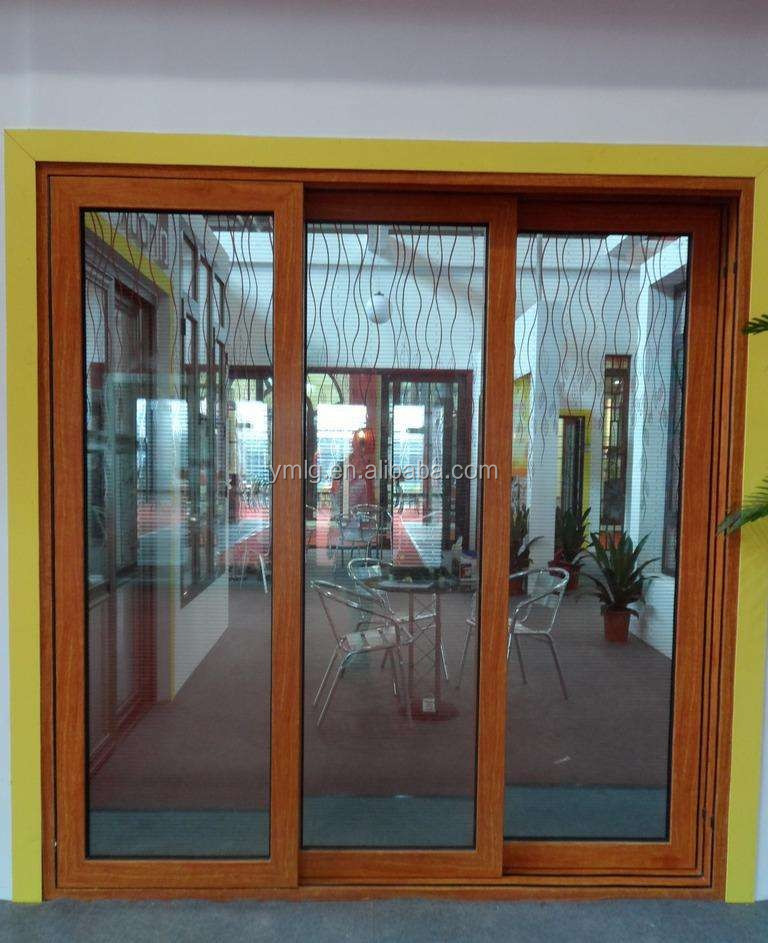 Waterproof Aluminum Frame 3 Panel Sliding Door With Insulated Glass