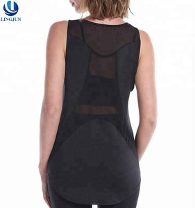 Black Sexy Mesh Long Vest Ladies Loose Sport Yoga Dance Dry Fit Slight Fitness Tank Top