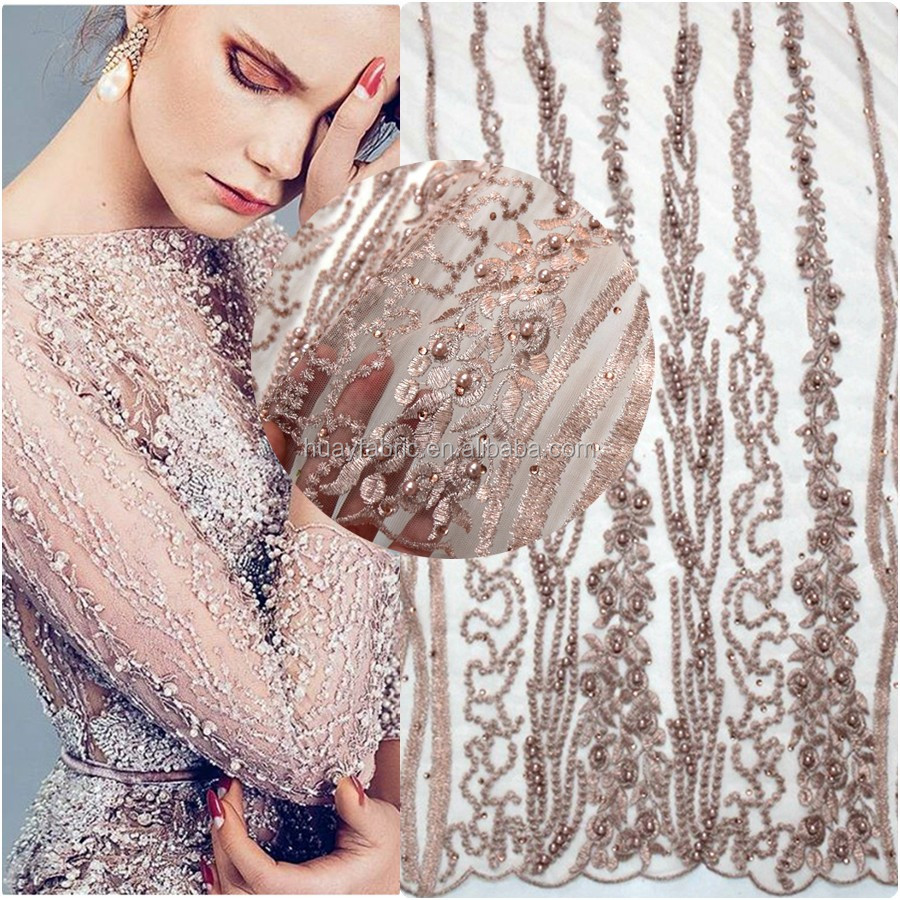 Top quality french tulle lace fabric embroidered 3d net lace with full handmade pearls and stones for wedding dress HY0385