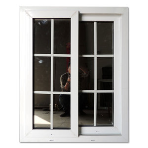 American Style Plastic Grey PVC Windows Vertical Sliding Window Double Glazed Interior Sliding Window