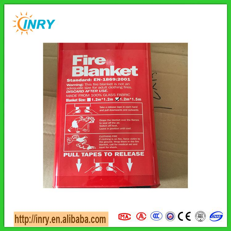 Sealed portable kitchen eversafe fire blanket 1mx1m in red fire blanket box