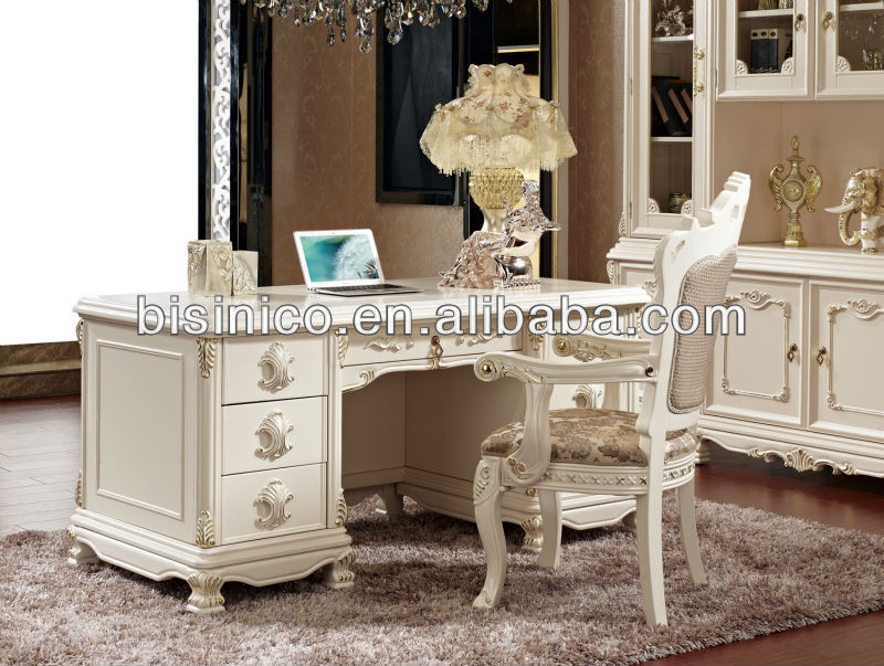 French Style Writing Desk Luxury Antique With Chair In White Color