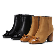 Comfortable daily work girls boots cheap bowtie lady boots low heel women warm boots shoes