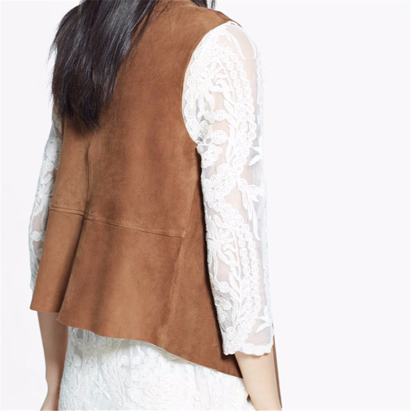 Woman Jacket Spring And Autumn 2015 Sleeveless Blazer Vest Turn Down Collar Bomber Jacket