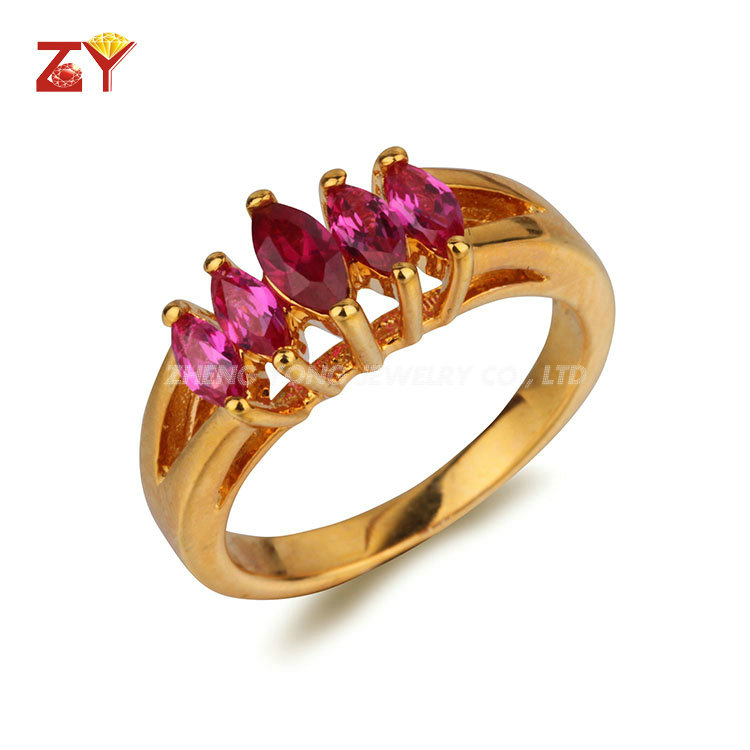 China jewelry factory 18K gold plated Cubic Zirconia Rings on Sale