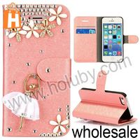 Shiny Ballerina Girl and Flowers Studded Rhinestones Wallet Style Stand Silk Texture Leather Case for iPhone 5 5S (Pink)