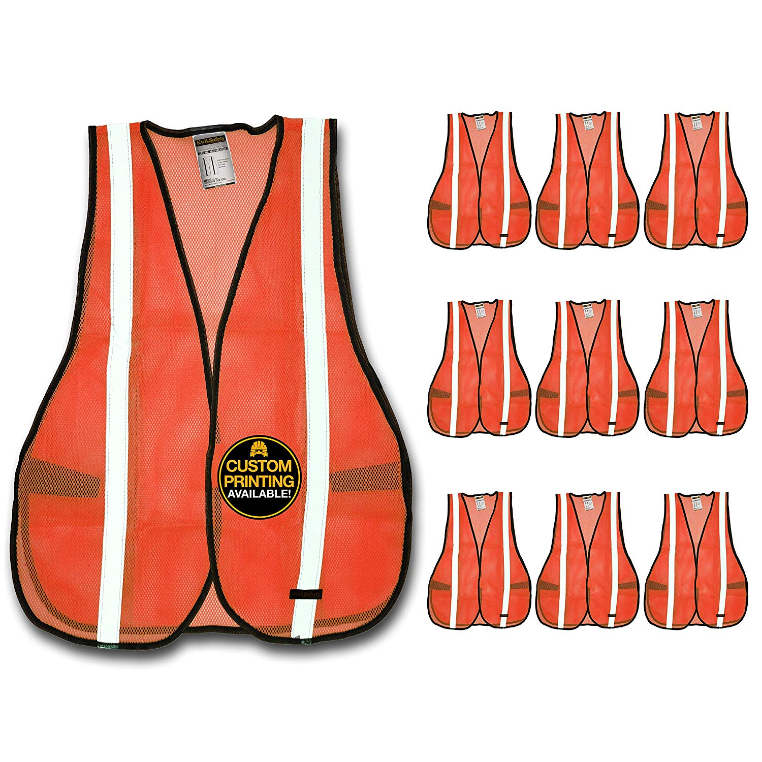 KwikSafety (Charlotte, NC) COMMUNITY ANSI Class Unrated (Snag Free Velcro Closure) Safety Vest (10 PACK) High Visibility Lightweight Reflective Tape Hi-Vis Work Hi-Viz Size One Size Fits Most, Orange