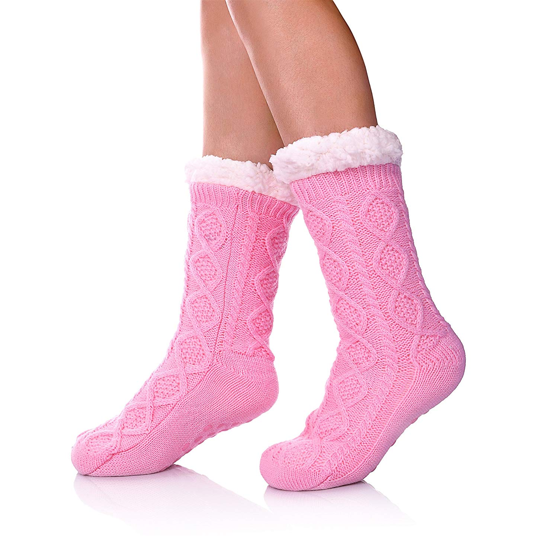 aa3e5133a SDBING Women's Super Soft Warm Cozy Fuzzy Fleece lined Twist Non-Slip  Winter Christmas gift