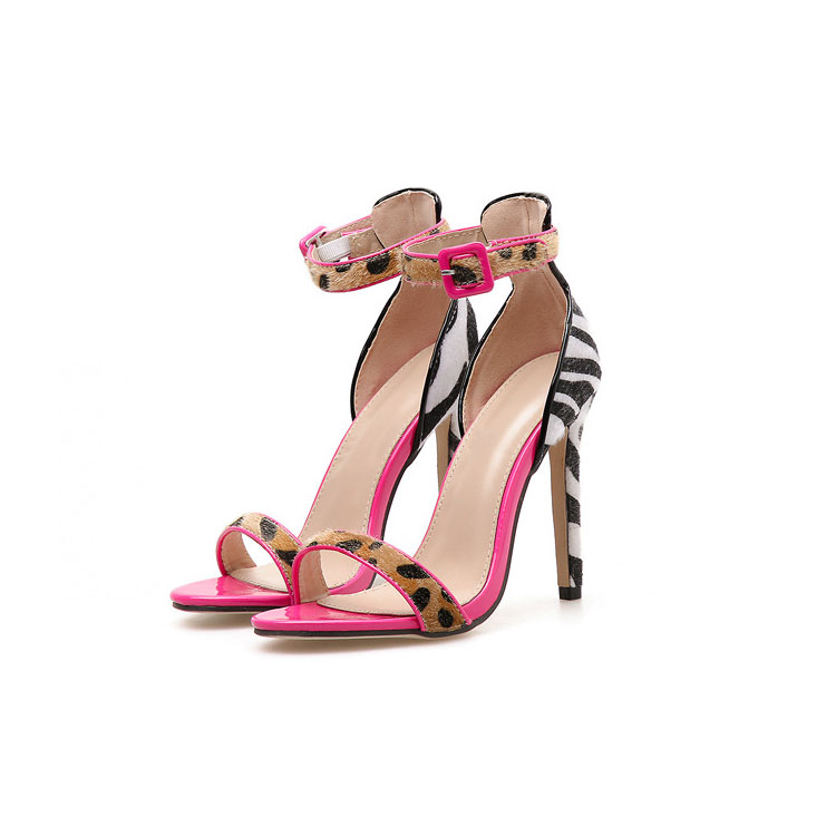 90521-SW41 candy pink animal print leather high heel dress <strong>sandals</strong> women