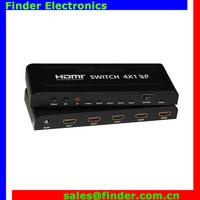 With IR Wireless Remote PIP 4 port HDMI switch 4x1 metal case hdmi switcher 4 input, 1 output