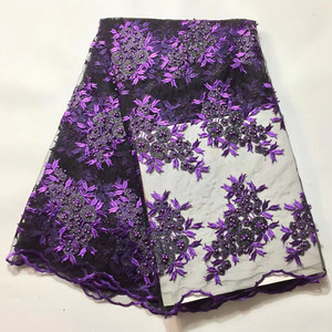 Purple Color African French lace fabric with Beads Soft Beautiful High Quality Embroidery Nigerian Style 3d flower net lace
