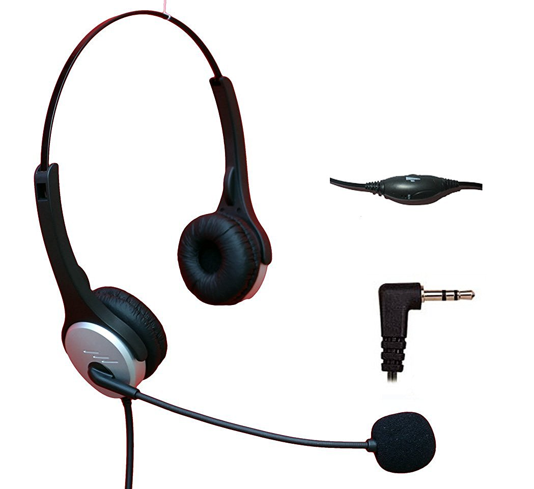 Voistek Corded Binaural Call Center Telephone Headset Noise Cancelling Headphone with Flexible Microphone for Cisco Linksys Polycom Panasonic Office Deskphone DECT Cordless and Cell Phones with 2.5mm Headset Jack (H20D25MM)