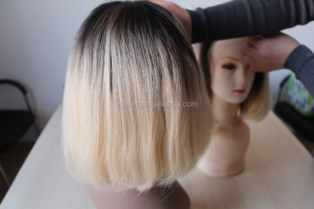 Ombre blonde dark roots two tone human hair short bob lace front wig