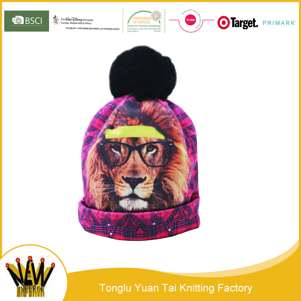China supplier animal printing cc bobble beanie hats